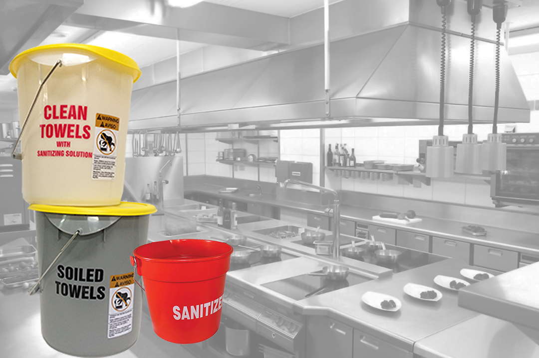 cleaning chemicals and tools for a commercial kitchen